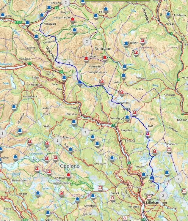Ruta går fra Lillehammer via Rondane til Dovre og Hjerkinn